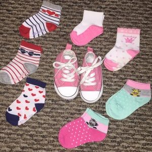 Baby pink Converse with socks